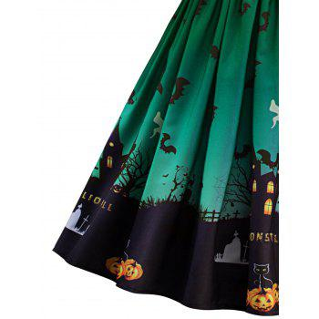 Halloween Vintage Lace Insert Pin Up Dress - GREEN XL