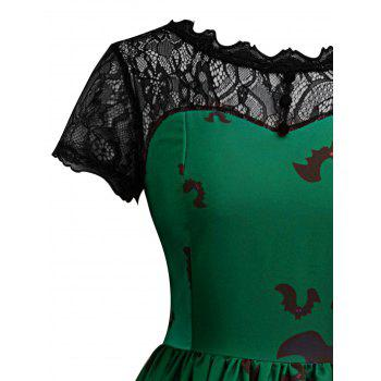 Halloween Vintage Lace Insert Pin Up Dress - GREEN S