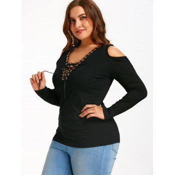 Plus Size Lace Up Cold Shoulder T-shirt - BLACK 4XL