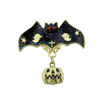 Halloween Pumpkin Ghost Star Bat Brooch - GOLDEN GOLDEN