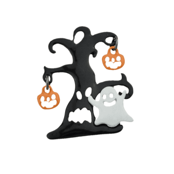 Halloween Devil Pumpkin Ghost Tree Brooch - COLORMIX
