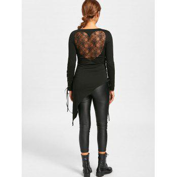 Halloween Sheer Lace Up Asymmetric Top - BLACK BLACK