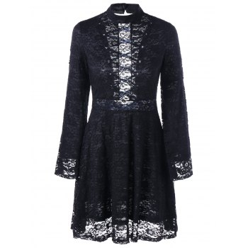 Mock Neck Back Tie-up Lace Dress - BLACK XL