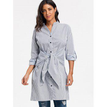V Neck Striped Tie Up Shirt Dress - STRIPE STRIPE