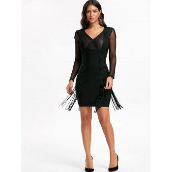 Mesh Long Sleeve Fringe Bandage Dress - BLACK BLACK
