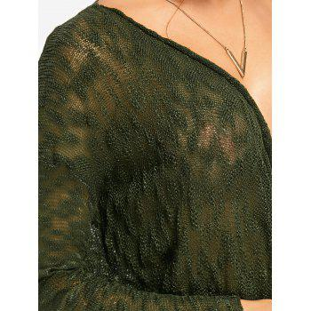 Semi Sheer Draped Surplice Knitwear - GREEN GREEN