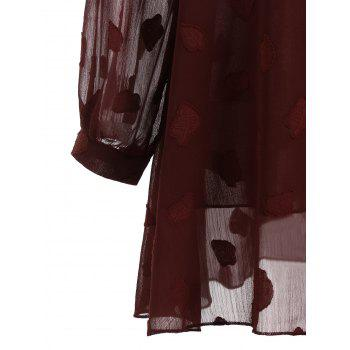 Plus Size Leaf Sheer V Neck Blouse - WINE RED WINE RED