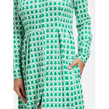 Button Down Printed Maxi Shirt Dress - GREEN GREEN