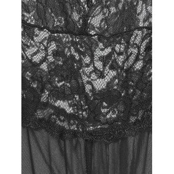 Plunge Lace Crossback Teddy - BLACK BLACK