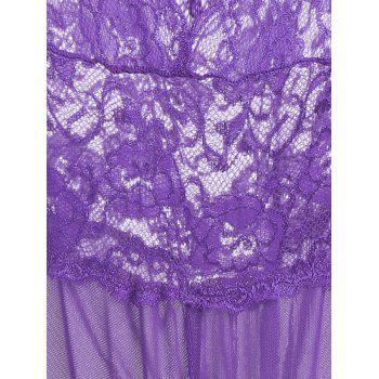 Plunge Lace Crossback Teddy - PURPLE PURPLE