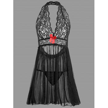 Plunge Lace Open Back Babydoll - BLACK BLACK