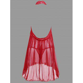 Plunge Lace Open Back Babydoll - RED RED