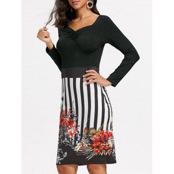Stripe Floral Print Bodycon Dress - BLACK BLACK
