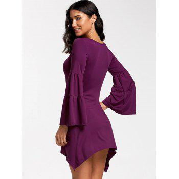 Asymmetrical Bell Sleeve Mini Dress - PURPLE PURPLE