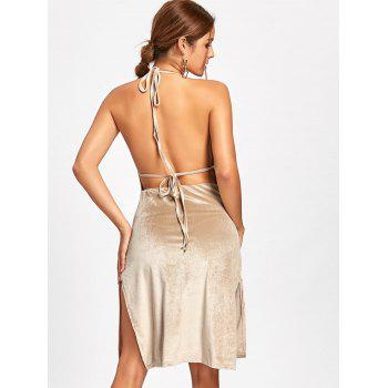 Slit Backless Halter Robe en velours - Abricot M