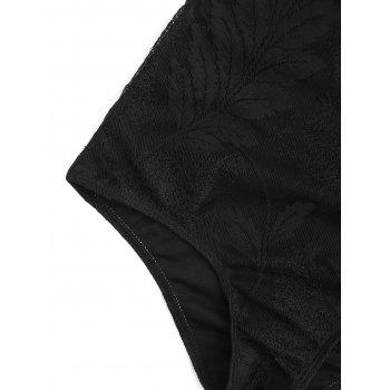 One Piece Lace Crossback Swimsuit - BLACK BLACK