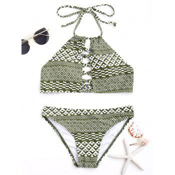 Tribal Print Halter Tied Bikini Set - COLORMIX COLORMIX