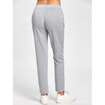 High Waisted Floral Embroidered Sweatpants - GRAY GRAY