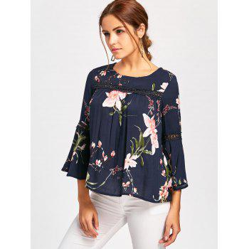 Bell Sleeve Lace Insert Floral Print Blouse - BLUE M