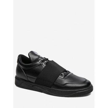 Elastic Band Slip On Faux Leather Casual Shoes - BLACK BLACK
