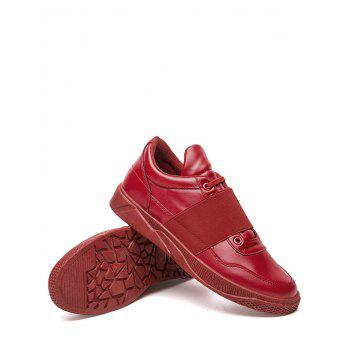 Elastic Band Slip On Faux Leather Casual Shoes - RED RED