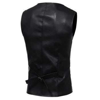 Belt Design Edging PU Leather Waistcoat - BLACK BLACK