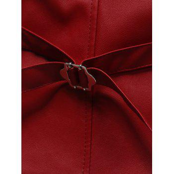 Belt Design Edging PU Leather Waistcoat - RED RED