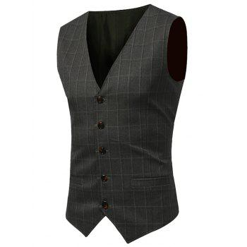 Belt Design Checked Waistcoat - ARMY GREEN ARMY GREEN