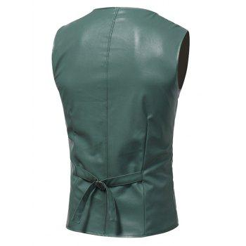 Belt Design Edging PU Leather Waistcoat - LIGHT GREEN LIGHT GREEN