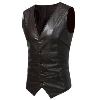 V Neck PU Leather Waistcoat - LIGHT BROWN LIGHT BROWN