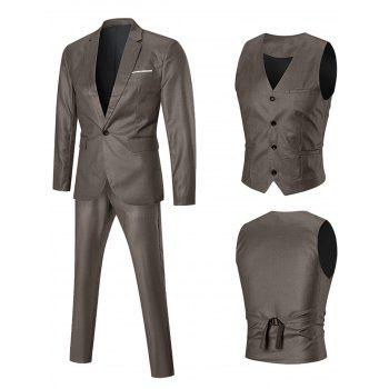 One-button Lapel Three Piece Business Suit - GOLDEN GOLDEN