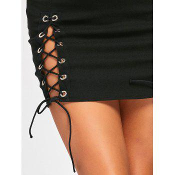 Mini Lace Up High Waist Skirt - BLACK S