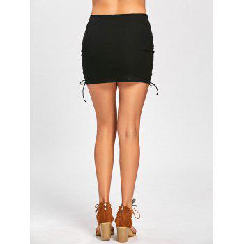 Mini Lace Up High Waist Skirt - BLACK M
