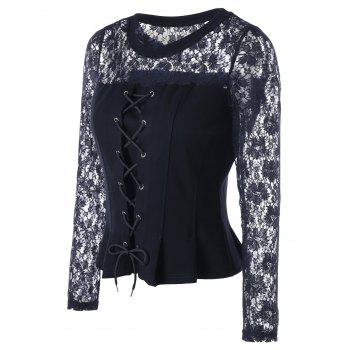 Lace Panel Lace-up Peplum Blouse - BLACK L