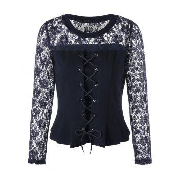 Lace Panel Lace-up Peplum Blouse - BLACK BLACK
