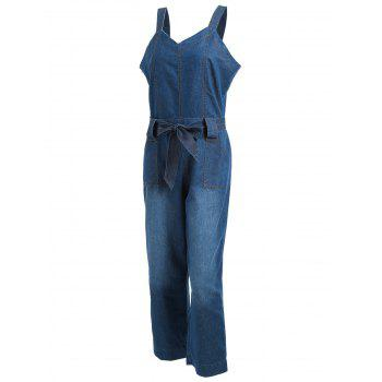 Sleeveless Denim Wide Leg Jumpsuit - BLUE BLUE