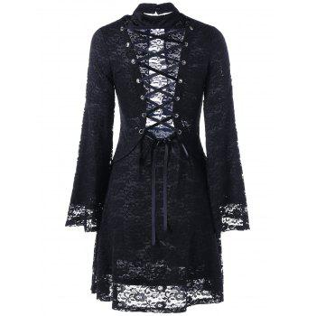 Mock Neck Back Tie-up Lace Dress - BLACK M