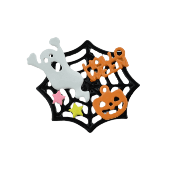 Halloween Devil Ghost Pumpkin Cobweb Brooch - multicolorcolore