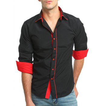 Color Block Slim Fit Long Sleeve Shirt - BLACK L