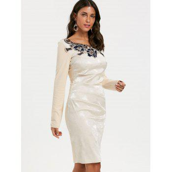 Jacquard Long Sleeve Ruched Bodycon Dress - APRICOT APRICOT