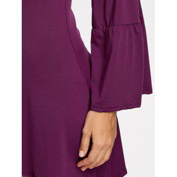 Asymmetrical Bell Sleeve Mini Dress - PURPLE XL