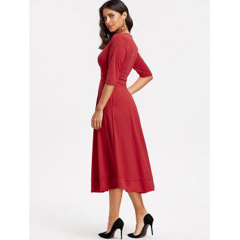 Plunge Tea Length Prom Dress - RED RED
