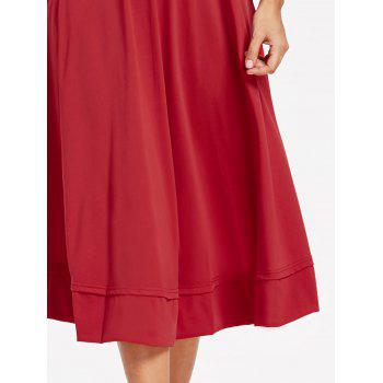 Plunge Tea Length Prom Dress - RED S