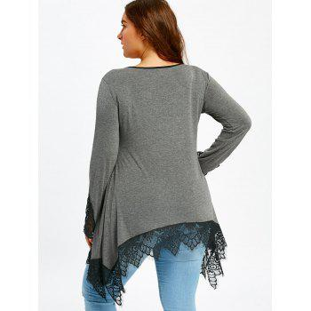 Plus Size Lace Trim Tunic Sharkbite T-shirt - GRAY 4XL