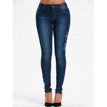 High Waisted Floral Embroidered Skinny Jeans - BLUE 2XL