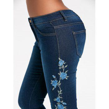 High Waisted Floral Embroidered Skinny Jeans - BLUE L