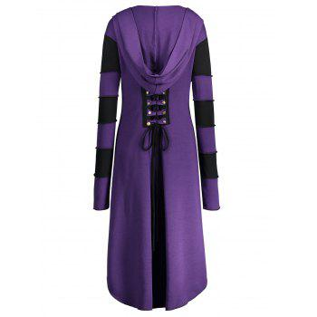 High Low Plus Size Lace-up Hooded Coat - PURPLE 5XL