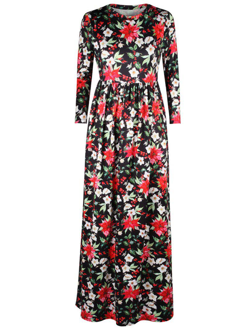 Floral Leaf Print A Line Maxi Dress - BLACK XL