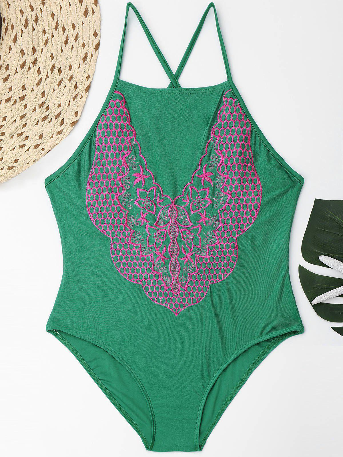 Embroidered Plus Size Lace Up Swimsuit - GREEN 3XL