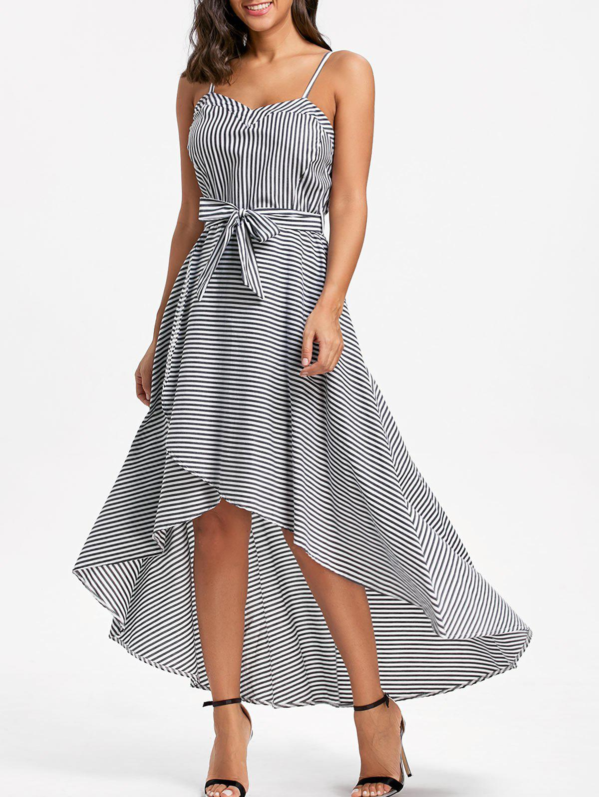 High Low Striped Slip Dress with Belt - STRIPE S